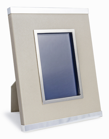 bordered: Rich vinyl and silver photo frame with clipping path on white isolated background Stock Photo