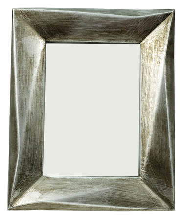 Metal photo frame with scratches standing straight on white isolated background