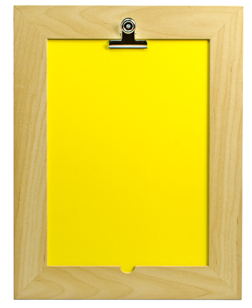 case sheet: Wooden writing tablet with blank paper for text and drawing standing straight on isolated background