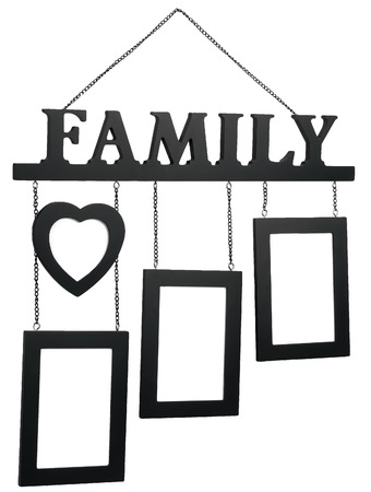 family photo: Hanging Photo Frame consists of three frames, the heart, and the text Family.