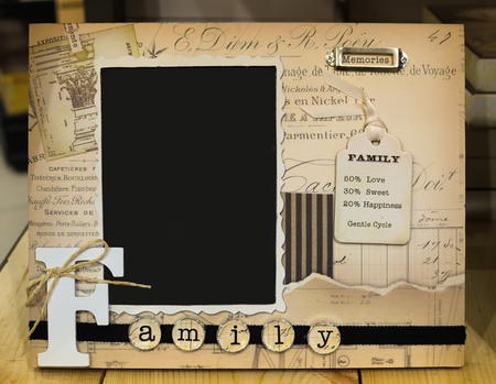 descendants: Decorative photo frame with text Family and Memories