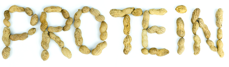 The word Protein written using letters made of peanuts on isolated background. High resolution images Banque d'images