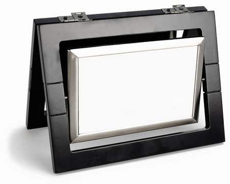 metall and glass: Black photo frame rotated in a plane isolated on white background