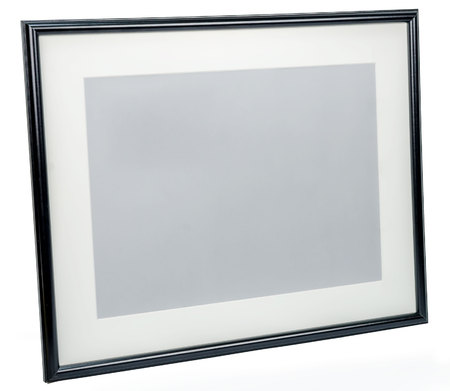 rotated: Black photo frame rotated in a plane isolated on white background