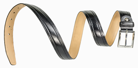 suede belt: Black leather mens belt in form of spiral hung in the air