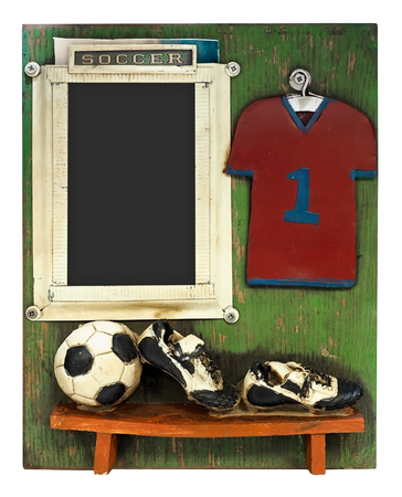 uniform green shoe: Photo frame with boat  fishing net, oars and empty spase  for your pictures
