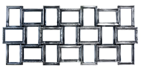 silvered: Silvered decorative photo frame with empty space Stock Photo