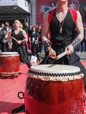 chinese drum: Musicians play drums outdoors. Culture of Korea, Japan, China