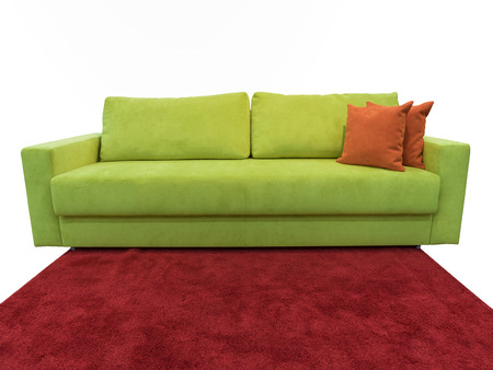 Light Green Sofa With Pillows On The Red Carpet Stock Photo   58795245