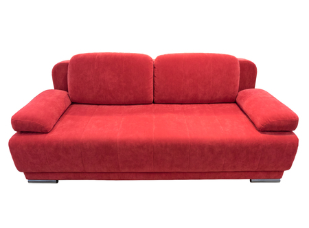 red sofa: Red  sofa with pillows, isolated on white.
