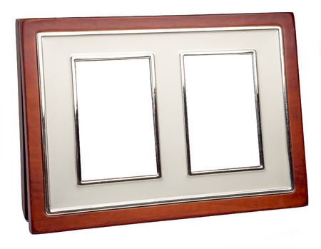 empty space: Brown wooden photo frame with empty space Stock Photo