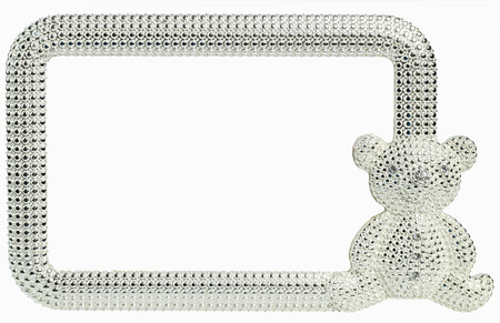 inlaid: Beautiful photo frame Bear inlaid rhinestones with place isolated for your photo. Stock Photo