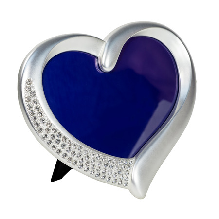 inlaid: Metal photo frame inlaid rhinestones in form of heart