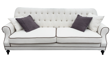 divan: White sofa with pillows. Soft  couch. Isolated background.  classic divan Foto de archivo