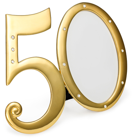 gold photo frame birthday 50 anniversary of isolation on a white background Banque d'images