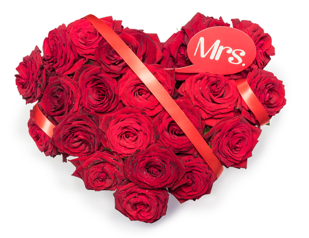 Heart Made Red Roses bouquet Red ribbon Text Note Mrs. Isolated White Background. Valentines Day. International Womens Day. Mothers Day. Wedding.