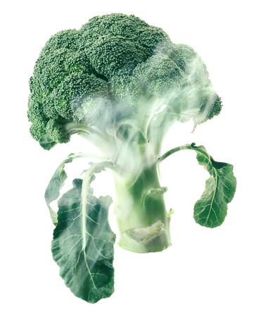 envelops: Broccoli head envelops smoke steam isolated white background.
