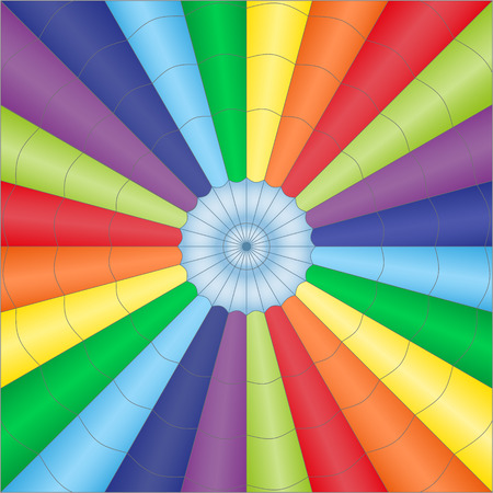 A background in vector abstract inside view of a colorful balloon parachute.