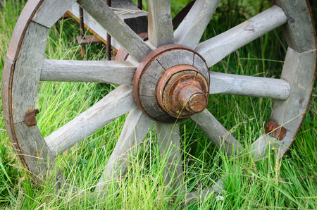 corroded: Old exhibit with the wagon wheel on a green grass. Wheel cart grass close-up.