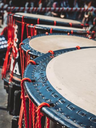 Taiko drums o-kedo on scene background. Musical instrument of Asia Korea, Japan, China