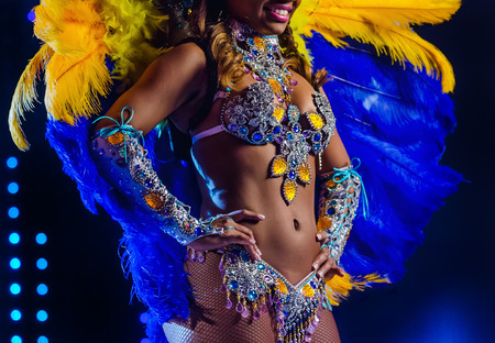 Beautiful bright colorful carnival costume illuminated stage background. Samba dancer hips carnival costume bikini feathers rhinestones close up 스톡 콘텐츠