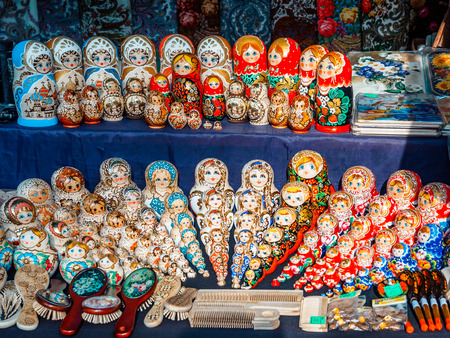 Colorful Russian nesting dolls at the market. Russian souvenirs