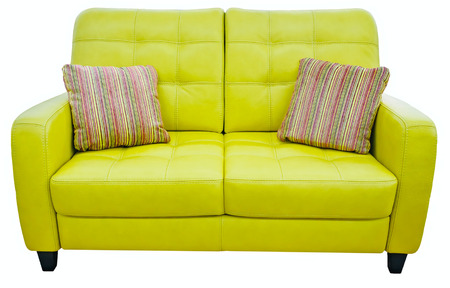 Green lime sofa with pillow. Soft lemon couch. Classic pistachio divan on isolated Stock Photo