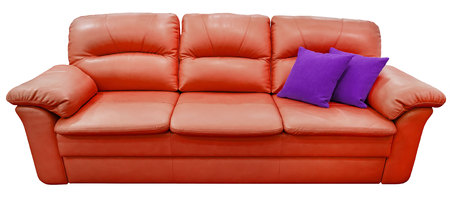 Red sofa with purple pillow. Soft lemon couch. Classic pistachio divan on isolated background