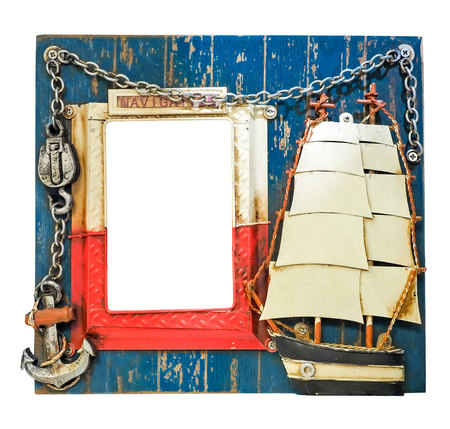 Thematic blue nautical photo frame for sailor. Lighthouse, anchor, chain, sailing ship. Word Navigation on the frame