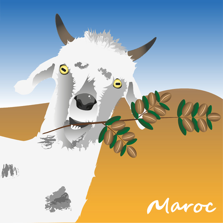 The goat is holding a branch of an argan tree with argan nuts in his teeth. The symbol of Morocco. illustration Text in translation: Morocco