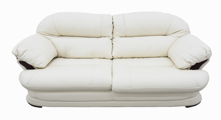 Stock Photo   White Eco Leather Sofa. Soft Snow White Couch With Coach Type  Screed Capitone. Classic Divan On Isolated Background