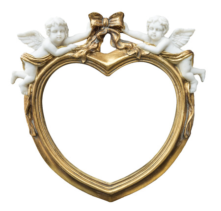 baroque gilded fhoto frame in form of heart with cupids on isolated background Stock Photo