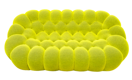 Green lime sofa with pillow. Soft lemon couch. Classic pistachio divan on isolated background