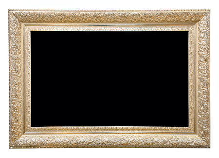 Antique rectangular golden frame isolated on white background.
