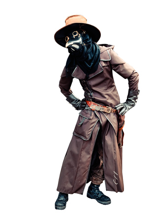 Plague doctor brown leather costume isolated