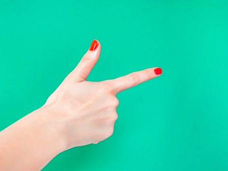 The Finger Gun Hand Sign. Is used as a way to say Yup with your hands Reklamní fotografie