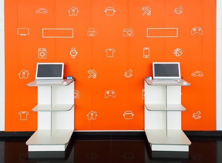 Point orders online store orange color interior. Online shopping and processing room. E-point. Pick point of orders 免版税图像
