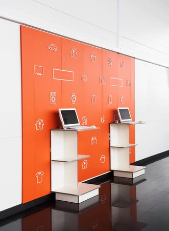 Point orders online store orange color interior. Online shopping and processing room. E-point. Pick point of orders 스톡 콘텐츠