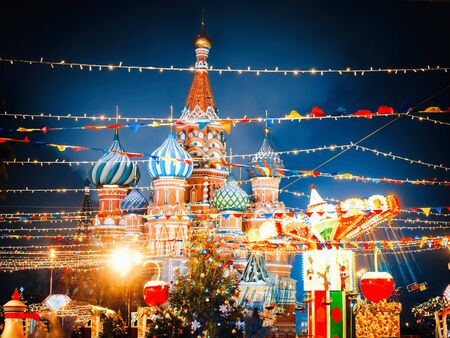 St. Basils Cathedral in Moscow Kremlin on Red Square. Decorated Red Square in Chrismastide and New Year time