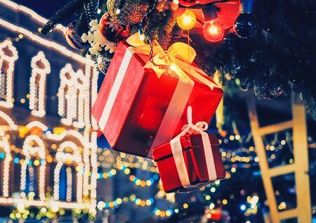 christmas decoration gift box fir tree illumination lights 스톡 콘텐츠