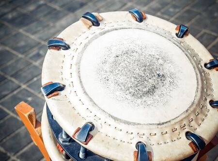 Traditional japanese percussion instrument shime-daiko or namitsuke it is one type of taiko drum.