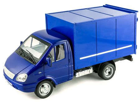 Blue mail truck toy car. Childrens toy plastic big car with isolated on white background