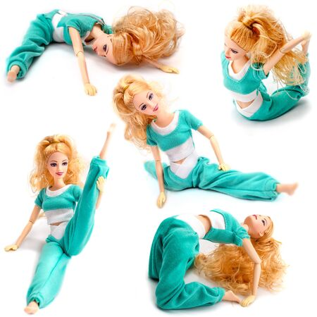 Set of poses in which the Barbie doll is located. Pretty doll sitting in the different pose twine stretched legs to the side, bridge pose isolated on white background 스톡 콘텐츠