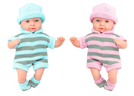 Two baby doll girl and boy in knitted dress on isolated white background