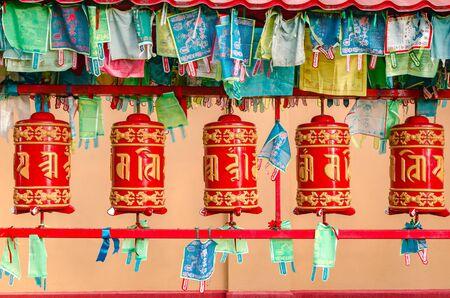 Buddhist prayer wheels in Buddhist Temple Datsan Gunzechoyney
