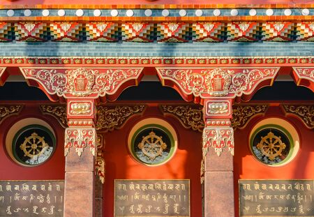 SAINT-PETERSBURG, RUSSIA - MAY 16, 2016: The Datsan Gunzechoinei is a large Buddhist temple. St. Petersburg, Russia. Buddhist datsan facade