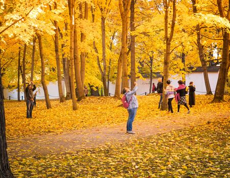 Moscow, Russia - October 11, 2018: Tourists walks autumn park. People take pictures on the background of a beautiful yellowed maple in the autumn park. Sunny day in the city park Izmailovo. Redakční