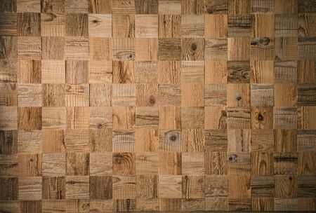 Square decorative wooden plank. Textured wood pattern. Mosaic of wooden cubes Stok Fotoğraf