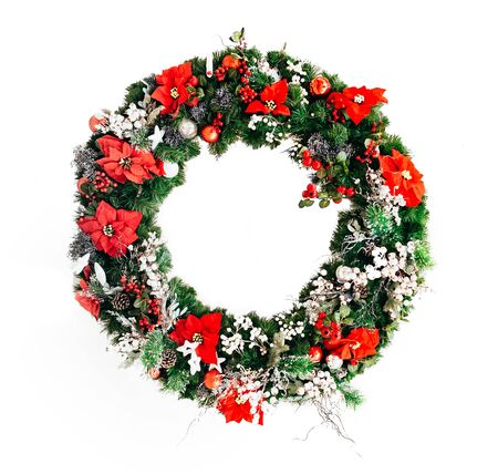 Christmas Wreath of Christmas Flower isolated on White background