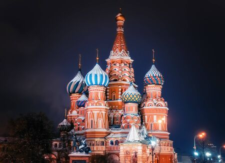 St. Basils Cathedral in Moscow Kremlin on Red Square. Night Red Square in Chrismastide and New Year time without people